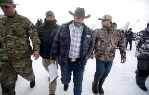 "Ammon Bundy departs after addressing the media at the Malheur National Wildlife Refuge near Burns, Oregon, January 4, 2016. The leaders of a group of self-styled militiamen who took over a U.S. wildlife refuge headquarters over the weekend said on Monday they had acted to protest the federal government's role in governing wild lands. Bundy, a leader of the group, told reporters outside the occupied facility on Monday that his group had named itself ""Citizens for Constitutional Freedom"" and was trying to restore individual rights. Bundy and law enforcement officials declined to say how many people were occupying the refuge headquarters. REUTERS/Jim Urquhart TPX IMAGES OF THE DAY"