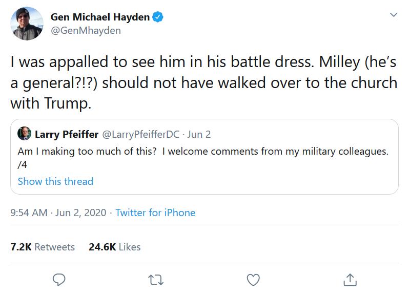 Screenshot_2020-06-04 (1) Gen Michael Hayden on Twitter I was appalled to see him in his battle dress Milley (he's a genera[...]